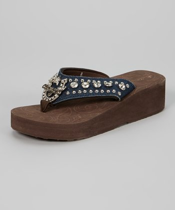 Brown & Black 'Cowgirl' Platform Flip-Flop
