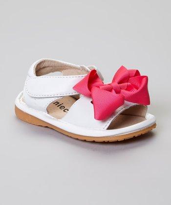 Laniecakes White Add-A-Bow Squeaker Sandal