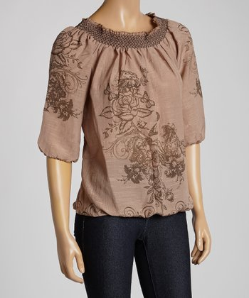Beige Shirred Butterfly Peasant Top