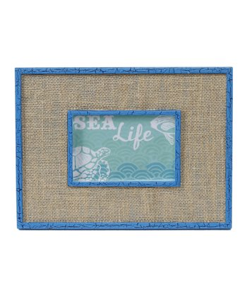 Bright Blue & Burlap Picture Frame