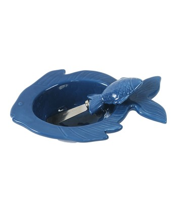Blue Fish Dip Bowl & Spreader