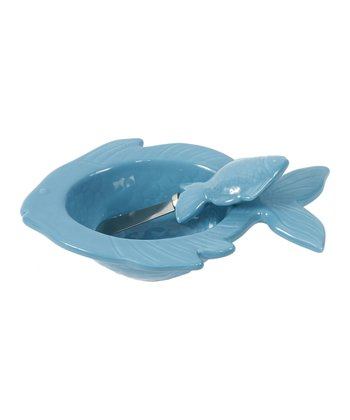 Light Blue Fish Dip Bowl & Spreader