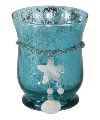 Teal Seashell Hurricane Candleholder