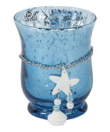 Blue Starfish Hurricane Candleholder