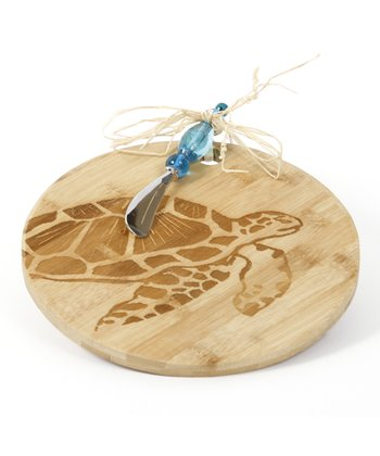 Turtle Cheese Board & Beaded Knife