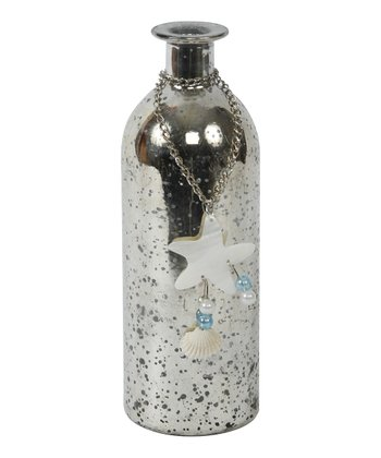 Silver Crackle Starfish Bottle