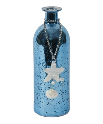 Blue Crackle Starfish Bottle