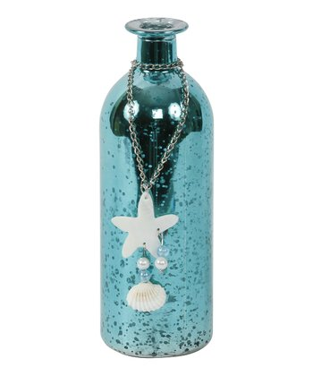 Aqua Crackle Starfish Bottle