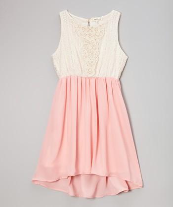 Monteau Girl Ivory & Pink Lace Dress