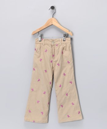 Khaki Horse Embroidered Corduroy Flare Pants - Girls