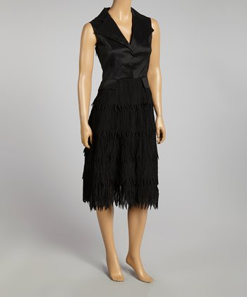 Black Fringe Sleeveless Dress - Women & Plus