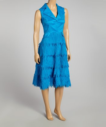 Turquoise Fringe Sleeveless Dress - Women & Plus