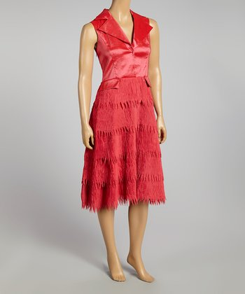 Fuchsia Fringe Sleeveless Dress - Women & Plus