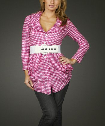 Pink & White Houndstooth Belted Tunic - Women & Plus