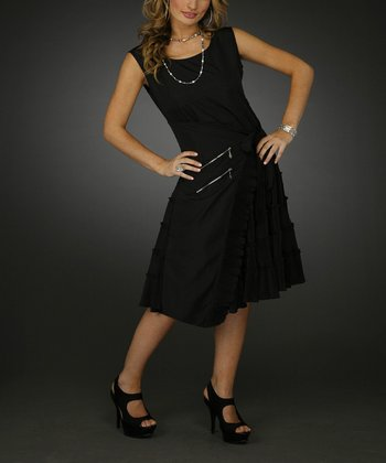 Black Ruffle Sleeveless Wrap Dress - Women & Plus