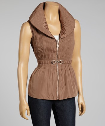 Mocha Ruched Zip-Up Vest - Women & Plus