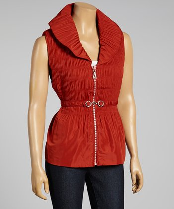 Red Ruched Zip-Up Vest - Women & Plus