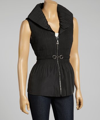 Black Ruched Zip-Up Vest - Women & Plus