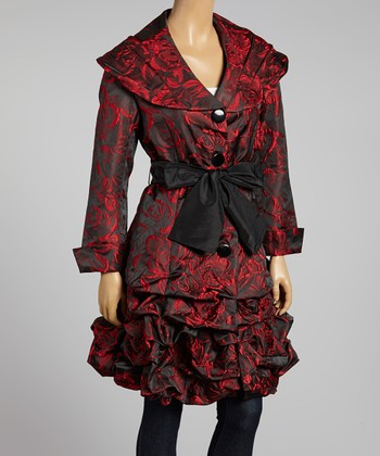 Red & Black Ruched Trench Coat - Women & Plus