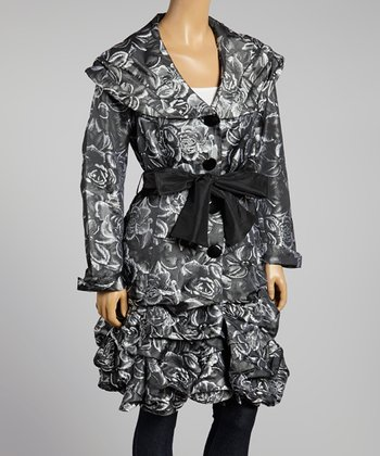 Silver & Black Ruched Trench Coat - Women & Plus