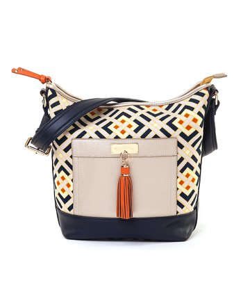 Spartina 449 Navy & Gold Harbor Light Color Block Wallaby Tote