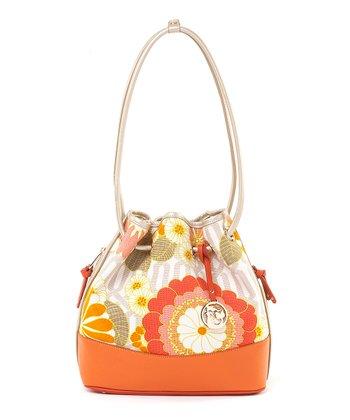 Spartina 449 Pink & Orange Tibi Soli Color Block Drawstring Shoulder Bag