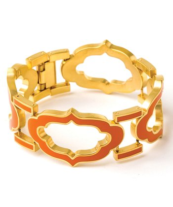 Spartina 449 Gold & Orange Signature Cartouche Bracelet