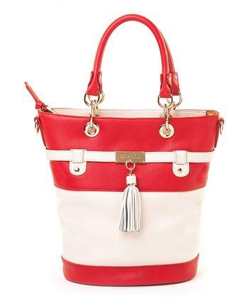 Spartina 449 Cream & Red Boutique Tassel Bucket Bag