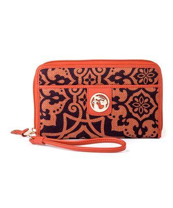 Spartina 449 Orange & Brown Maggioni Wrist Wallet