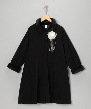 Black Rosette Coat - Toddler & Girls
