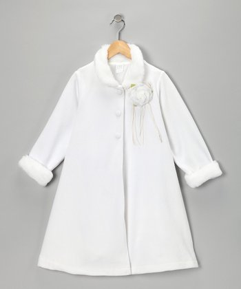 White Rosette Coat - Toddler & Girls