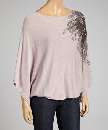 STYLE Taupe Cape-Sleeve Top