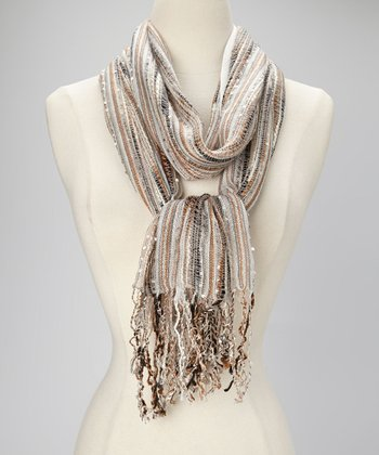 Silver Lining Chevron Pleated Scarf