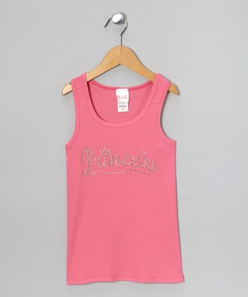 Pink Rhinestone 'Princess' Tank - Girls