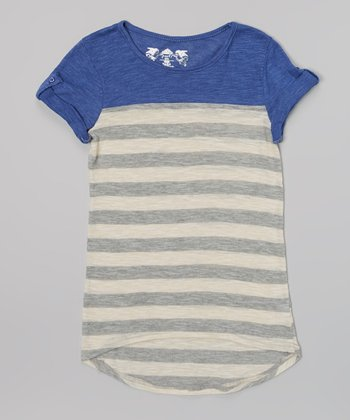 New Blue & Charcoal Stripe Hi-Low Tee