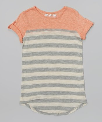 New Peach & Light Gray Stripe Hi-Low Tee
