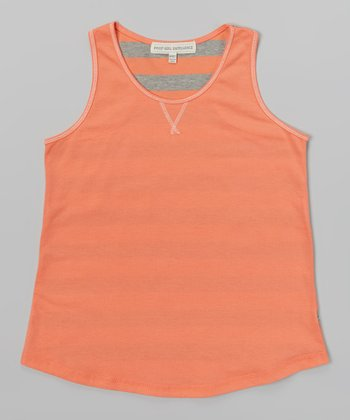 Fusion Coral & Gray Heather Stripe Tank