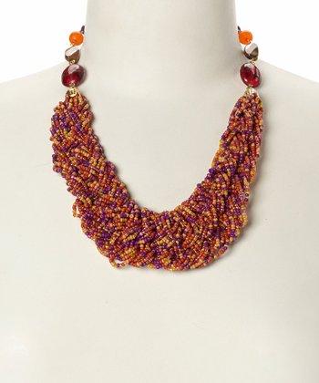 Purple & Orange Beaded Spiral Bib Necklace