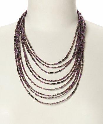 Tonal Purple Layered Strand Bib Necklace