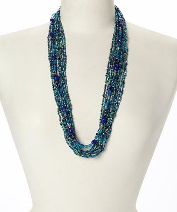 Blue & Green Beaded Strand Necklace