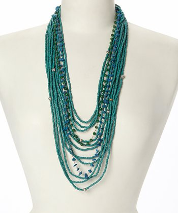 Green Wooden Bead Bib Necklace