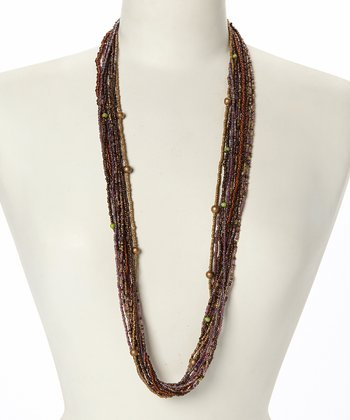 Brown & Green Beaded Strand Necklace