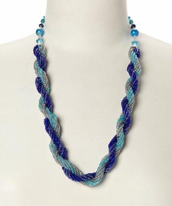 Tonal Blue Spiral Bead Necklace