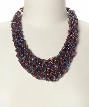 Purple & Olive Braided Bead Bib Necklace