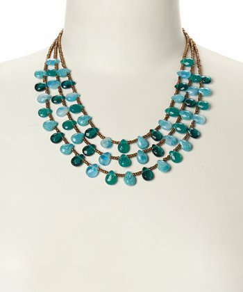 Turquoise & Teal Tiered Bead Station Necklace