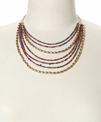 Red & Gold Beaded Strand Bib Necklace