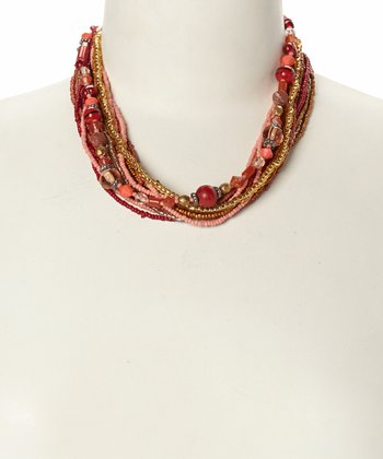 Coral Wooden Bead Wrapped Strand Necklace