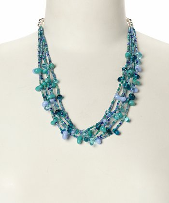 Turquoise & Blue Bead Strand Necklace