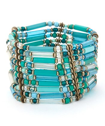 Turquoise & Teal Bead Stretch Bracelet