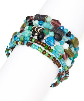 Turquoise & Brown Stone Bead Stretch Bracelet
